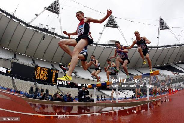 Peter Huck competes in the Men's 3000m Steeplechase during the Universities and Colleges Sports Championships at the Olympic Stadium London