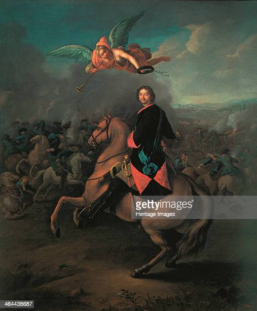 Peter I at the battle of Poltava 1710s Found in the collection of the State Russian Museum St Petersburg