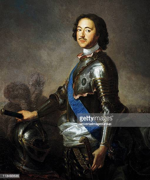 Peter I the Great in 1717 Emperor of Russia 1682 until his death Threequarter portrait of Peter in armour one hand on plumed helm the other on sword