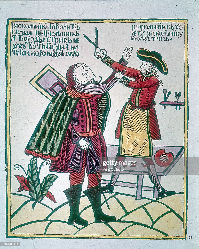 Peter I, the Great (1672-1725), Tsar of Russia, cutting a Boyar's (nobleman) beard. Peter became Tsar in 1682. He embarked on a campaign to modernise and Europeanise Russia, socially, economically and militarily. One of his measures was to westernise the physical appearance of his subjects by imposing a tax on beards, with exemptions only for the clergy and peasants. This was seen as an affront to the Orthodox Christian beliefs of the Russian people, who regarded the wearing of a beard as symbolising their devoutness.