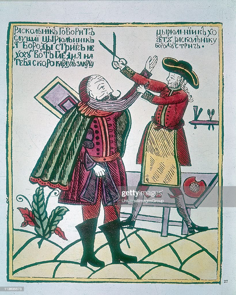 Peter I, the Great (1672-1725) Tsar of Russia from 1682 cutting a Boyar's beard. Peter was eager to westernise his subjects