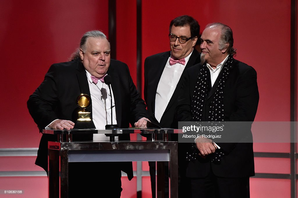 Peter J. Moore, Jan Haust, and Steve Berkowitz accept the award for Best Historical Album for Bob Dylan's 'The Basement Tapes Complete: The Bootleg Series Vol. 11' onstage during the GRAMMY Pre-Telecast at The 58th GRAMMY Awards at Microsoft Theater on February 15, 2016 in Los Angeles, California.