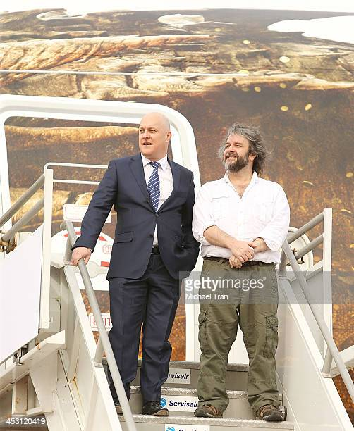 Peter Jackson and Chief Executive Officer of Air New Zealand Christopher Luxon attend the launch of 'The Hobbit The Desolation of Smaug' Air New...