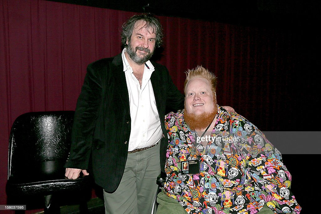 Peter Jackson and Harry Knowles speak after a screening of the new film 'The Hobbit' during Ain't It Cool News's Butt-Numb-A-Thon 14 at the Alamo Drafthouse on December 8, 2012 in Austin, Texas.