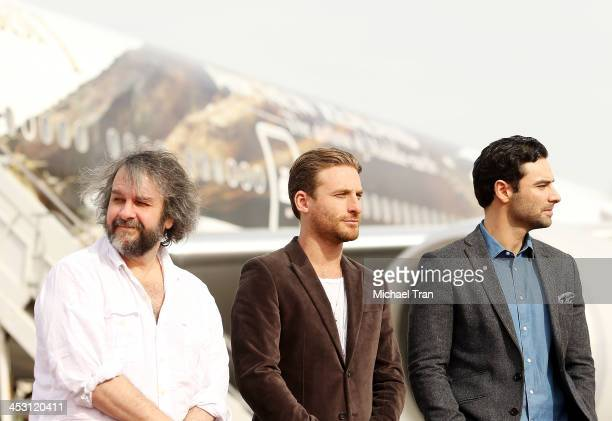 Peter Jackson Dean O'Gorman and Aidan Turner attend the launch of 'The Hobbit The Desolation of Smaug' Air New Zealand livery held at LAX Flight Path...
