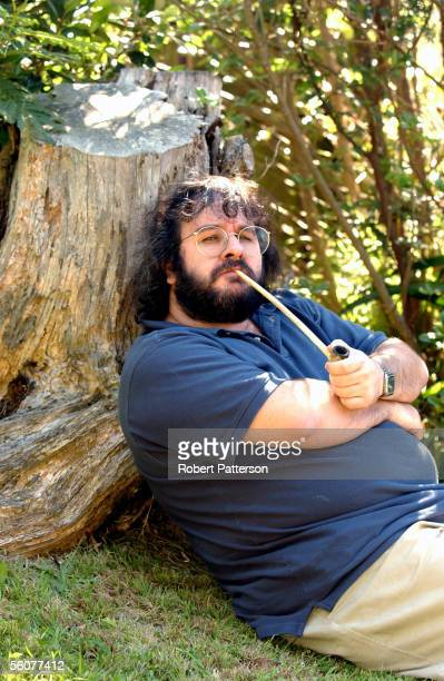 Peter Jackson New Zealand director of The Lord of the Rings trilogy poses in the grounds of his Wingnut Films office in Wellington New Zealand with...