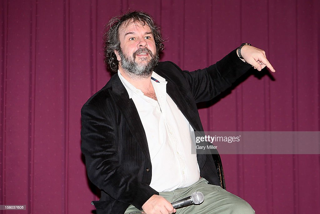 <a gi-track='captionPersonalityLinkClicked' href=/galleries/search?phrase=Peter+Jackson+-+Filmmaker&family=editorial&specificpeople=203018 ng-click='$event.stopPropagation()'>Peter Jackson</a> speaks after a screening of the new film 'The Hobbit' during Ain't It Cool News's Butt-Numb-A-Thon 14 at the Alamo Drafthouse on December 8, 2012 in Austin, Texas.
