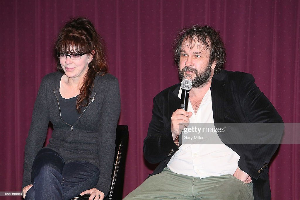 <a gi-track='captionPersonalityLinkClicked' href=/galleries/search?phrase=Peter+Jackson+-+Filmmaker&family=editorial&specificpeople=203018 ng-click='$event.stopPropagation()'>Peter Jackson</a> (R) speaks after a screening of the new film 'The Hobbit' during Ain't It Cool News's Butt-Numb-A-Thon 14 at the Alamo Drafthouse on December 8, 2012 in Austin, Texas.