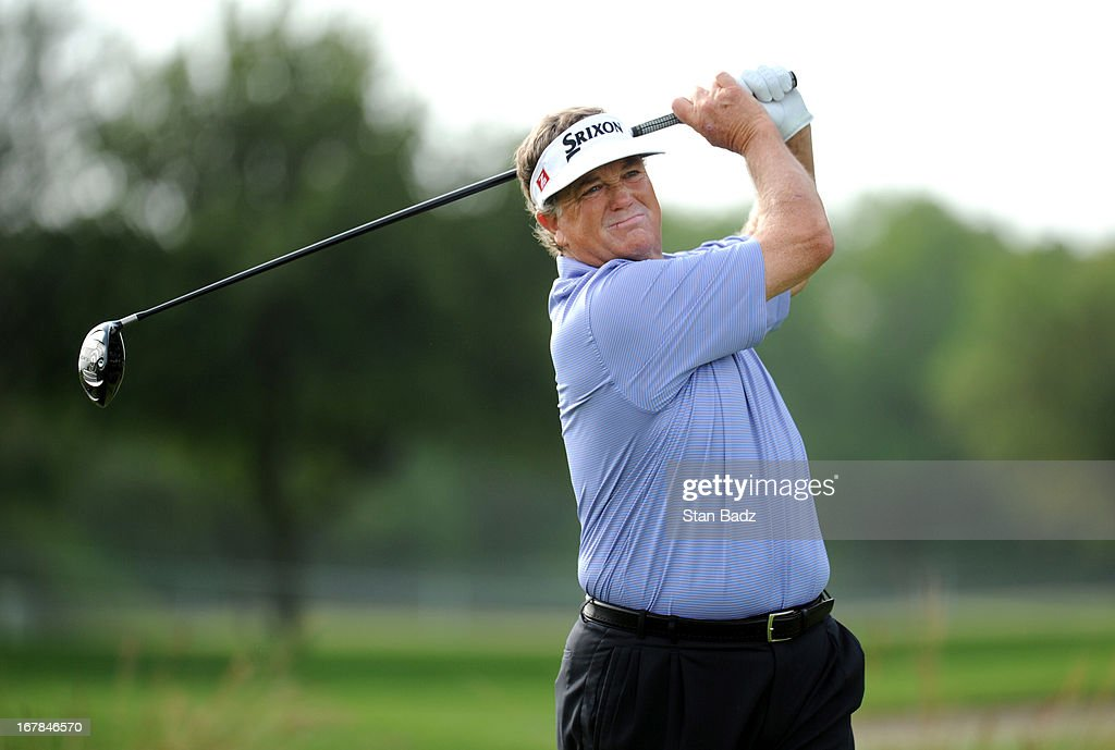 Peter Jacobsen hits a drive on the second hole during the final round of the Legends Division at the Liberty Mutual Insurance Legends of Golf at The...