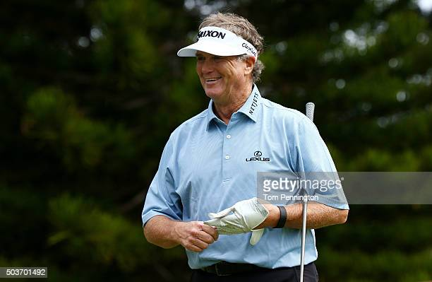 Peter Jacobsen reacts during the Hyundai Tournament of Champions ProAm at the Plantation Course at Kapalua Golf Club on January 6 2016 in Lahaina...