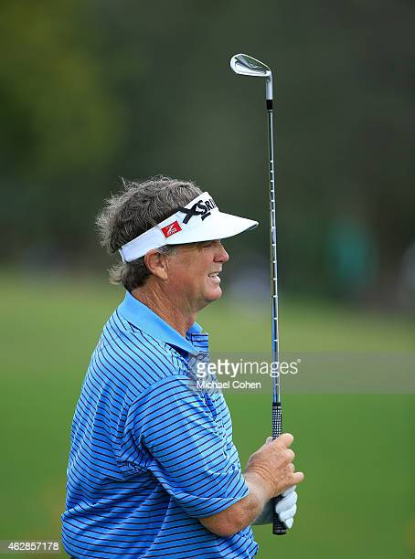 Peter Jacobsen watches his shot during the first round of the Allianz Championship held at The Old Course at Broken Sound on February 6 2015 in Boca...