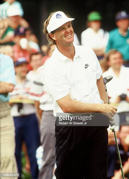 Peter Jacobsen watches his tee shot during the Canon Sammy Davis Jr Greater Hartford Open Cromwell CT 1991