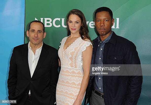 Peter Jacobson Amanda Righetti and Tory Kittles arrive at the 2016 Winter TCA Tour NBCUniversal Press Tour Day 2 at Langham Hotel on January 14 2016...