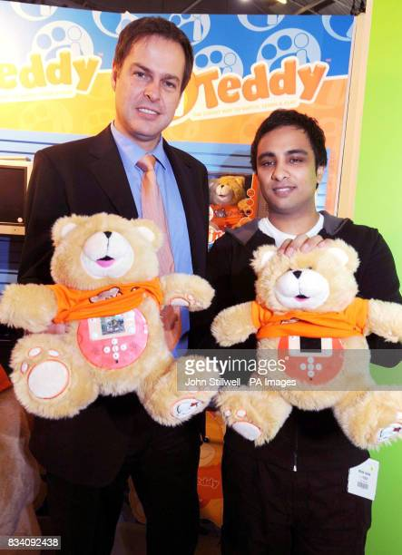 Peter Jones from the TV programme 'Dragons Den' with Imran Hakim and a pair of teddybears designed by Hakim that have proved a hit with children at...