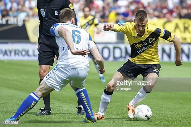 Peter Jungschlager of RKC Waalwijk Danny Verbeek of NAC Breda during the Dutch Eredivisie match between NAC Breda and RKC Waalwijk at Rat Verlegh...
