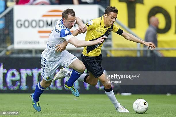 Peter Jungschlager of RKC Waalwijk Uros Matic of NAC Breda during the Dutch Eredivisie match between NAC Breda and RKC Waalwijk at Rat Verlegh...