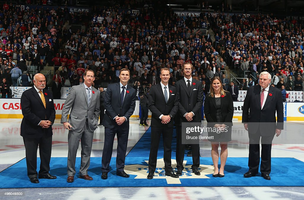 Peter Karmanos Jr., <a gi-track='captionPersonalityLinkClicked' href=/galleries/search?phrase=Phil+Housley&family=editorial&specificpeople=228127 ng-click='$event.stopPropagation()'>Phil Housley</a>, <a gi-track='captionPersonalityLinkClicked' href=/galleries/search?phrase=Sergei+Fedorov&family=editorial&specificpeople=202662 ng-click='$event.stopPropagation()'>Sergei Fedorov</a>, <a gi-track='captionPersonalityLinkClicked' href=/galleries/search?phrase=Nicklas+Lidstrom&family=editorial&specificpeople=201470 ng-click='$event.stopPropagation()'>Nicklas Lidstrom</a>, <a gi-track='captionPersonalityLinkClicked' href=/galleries/search?phrase=Chris+Pronger&family=editorial&specificpeople=204521 ng-click='$event.stopPropagation()'>Chris Pronger</a>, <a gi-track='captionPersonalityLinkClicked' href=/galleries/search?phrase=Angela+Ruggiero&family=editorial&specificpeople=220275 ng-click='$event.stopPropagation()'>Angela Ruggiero</a> and Bill Hay are honored for their induction into the Hockey hall of fame prior to the game between the Toronto Maple Leafs and the Detroit Red Wings at the Air Canada Centre on November 6, 2015 in Toronto, Ontario, Canada.