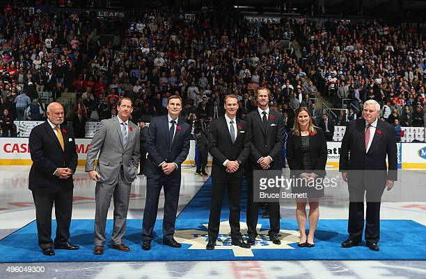 Peter Karmanos Jr Phil Housley Sergei Fedorov Nicklas Lidstrom Chris Pronger Angela Ruggiero and Bill Hay are honored for their induction into the...