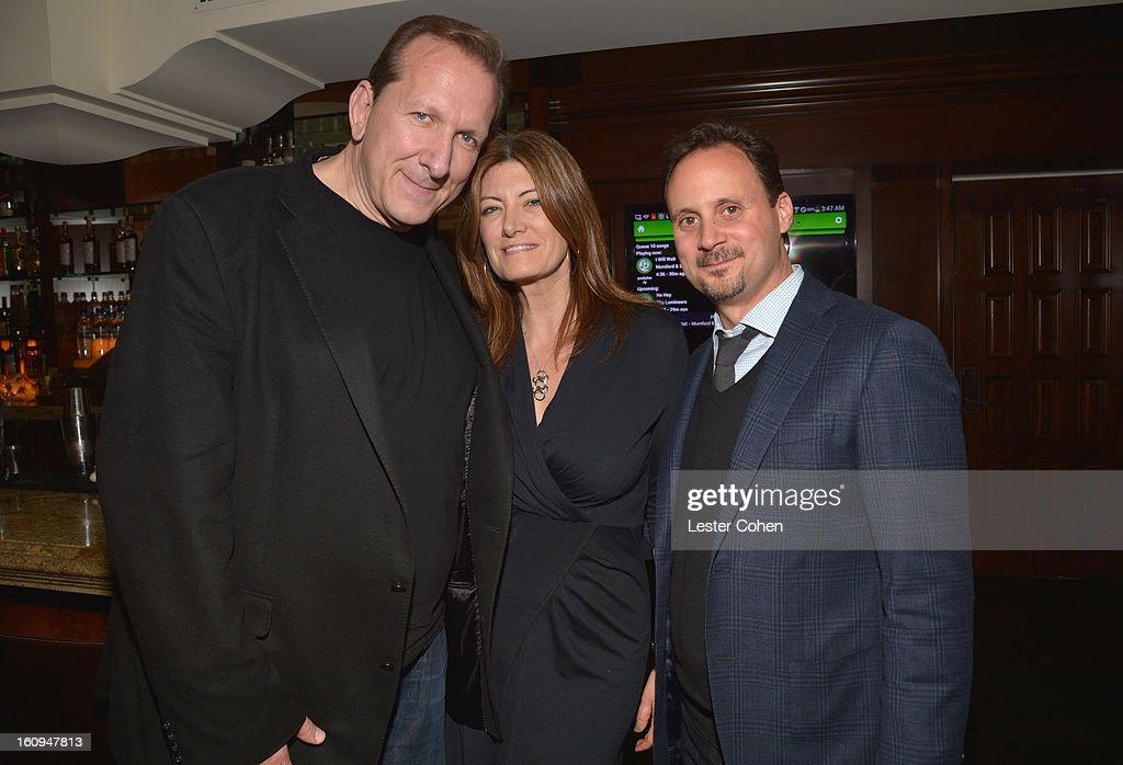 Peter Katsis, President of Worldwide Music for Sony Pictures Entertainment Lia Vollack and President of Film Music and Publishing for Universal Pictures Mike Knobloch attend the Friends N Family Dinner Hosted by Mark Beaven and Andy Kipnes at Scarpetta on February 7, 2013 in Beverly Hills, California.