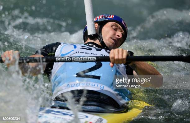 Peter Kauzer of Slovenia competes during the Kayak Single Men's Final of the ICF Canoe Slalom World Cup on June 24 2017 in Augsburg Germany