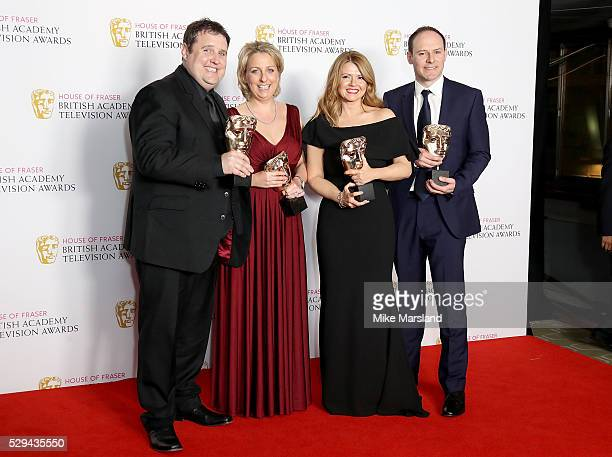 Peter Kay Gill Isles Sian Gibson and Paul Coleman winners of Best Scripted Comedy for 'Peter Kay's Car Share' pose in the winners room at the House...