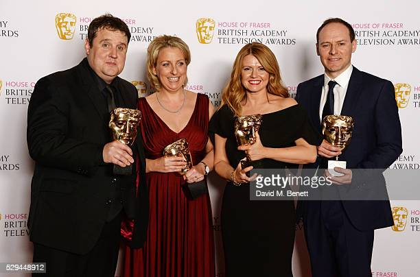Peter Kay Gill Isles Sian Gibson and Paul Coleman winners of the Best Scripted Comedy award for 'Peter Kay's Car Share' pose in the winners room at...