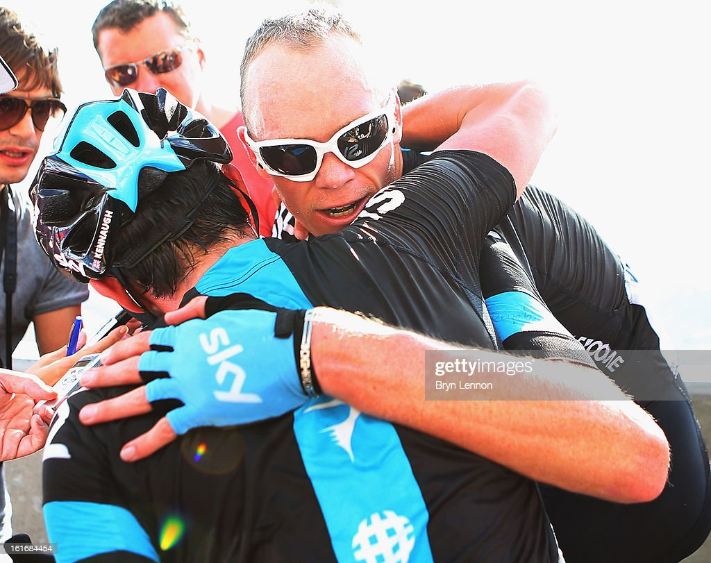 Peter Kennaugh of Great Britain and SKY Procycling congratulates team mate Chris Froome of Great Britain after he finished second and took the overall race lead on stage four of the 2013 Tour of Oman from Al Saltiyah in Samail to Jabal Al Akhdhar (Green Mountain) on February 14, 2013 in Jabal Al Akhdhar, Oman.