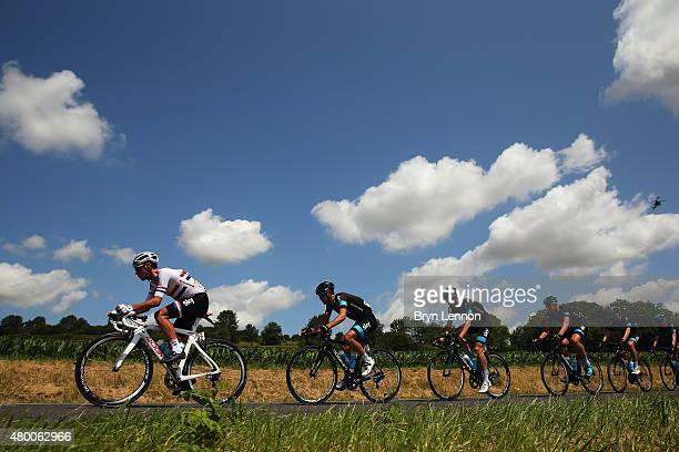 Peter Kennaugh of Great Britain and Team Sky rides with Team Sky team mates during stage six of the 2015 Tour de France a 1915km stage between...