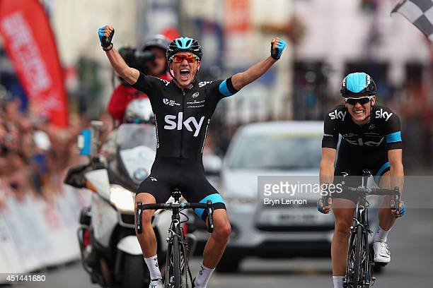Peter Kennaugh of Team SKY celebrates crossing the line to win the Elite Men British National road race championships on June 29 2014 in Abergavenny...