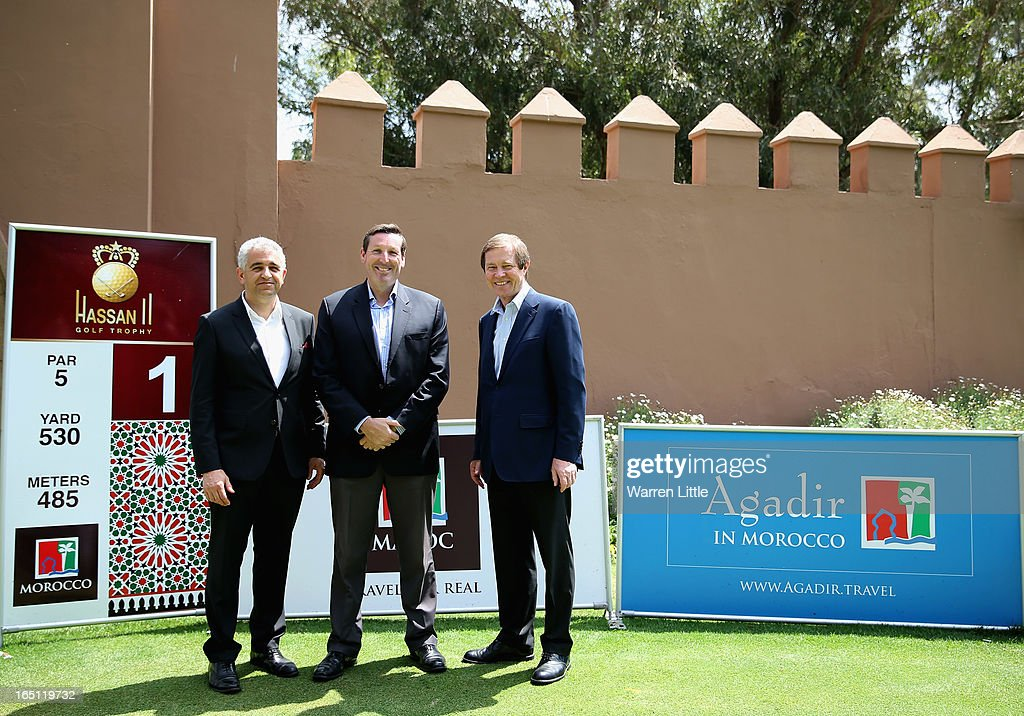 Peter Khodabakhsh, Director of the Ladie European Tour, Anthony Scanlon, Director of the International Federation and George O'Grady, Chief Excutive of the European Tour pose for a picture during the final round of the Trophee du Hassan II Golf at Golf du Palais Royal on March 31, 2013 in Agadir, Morocco.