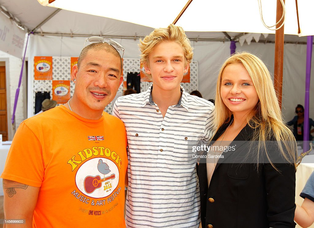 Peter Kim, Hudson Jeans, <a gi-track='captionPersonalityLinkClicked' href=/galleries/search?phrase=Cody+Simpson&family=editorial&specificpeople=7068455 ng-click='$event.stopPropagation()'>Cody Simpson</a> and Alli Simpson attend 6th Annual Kidstock Music And Arts Festival Sponsored By Hudson Jeans at Greystone Mansion on June 3, 2012 in Beverly Hills, California.