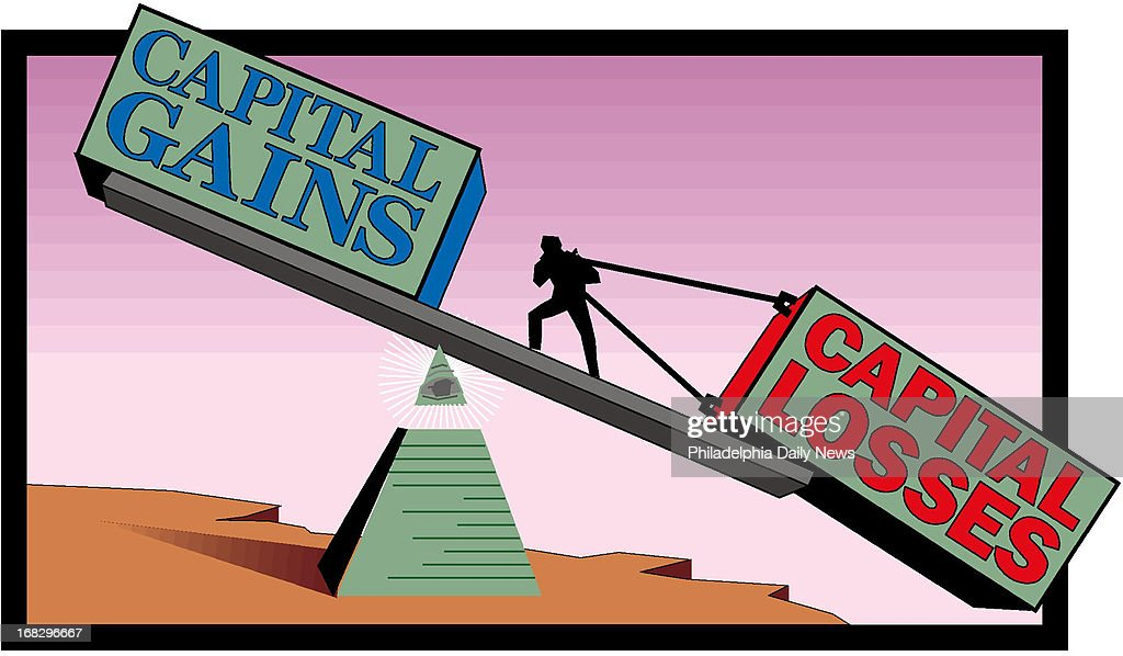 Peter Kohama color illustration of a fulcrum with words 'Capital gains' on one side and words 'Capital losses' on the other