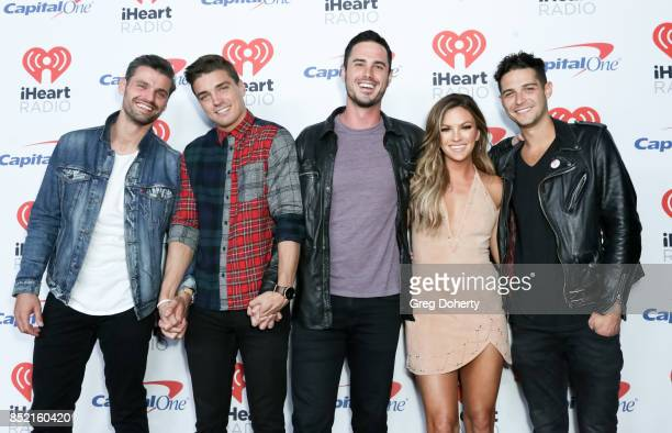 Peter Kraus Dean Unglert Ben Higgins Becca Tilley and Wells Adams arrive at the 2017 iHeartRadio Music Festival at TMobile Arena on September 22 2017...