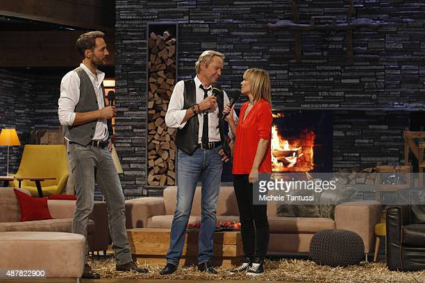 Peter Kraus with moderators Francine Jordi and Alexander Mazzaduring the dress rehearsal of the TV music show 'Stadlshow' on September 11 2015 in...