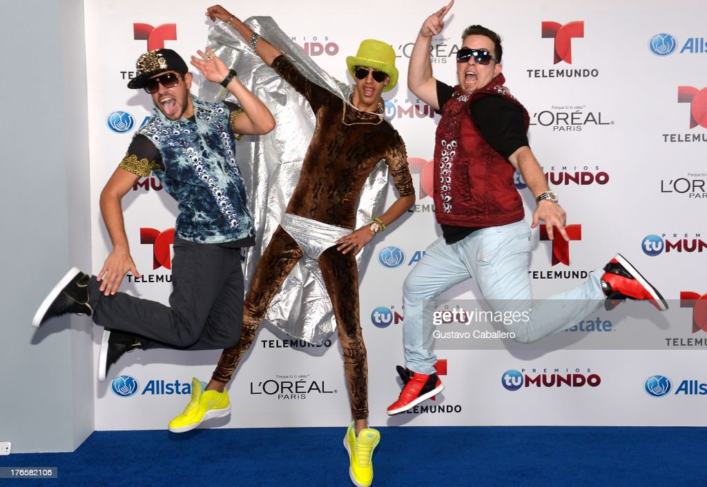 Peter La Anguila and el Pichy Films arrive for Telemundo's Premios Tu Mundo Awards at American Airlines Arena on August 15, 2013 in Miami, Florida.