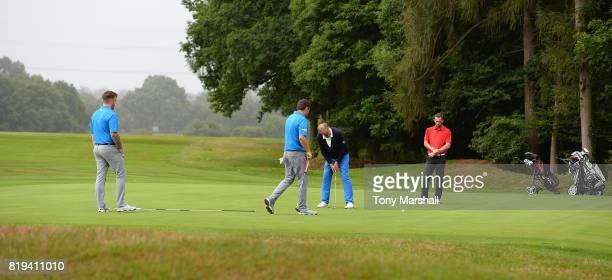 Peter Lane of Harpenden Golf Club putts on the 17th green during the PGA Lombard Trophy East Qualifier at Sandy Lodge Golf Club on July 20 2017 in...