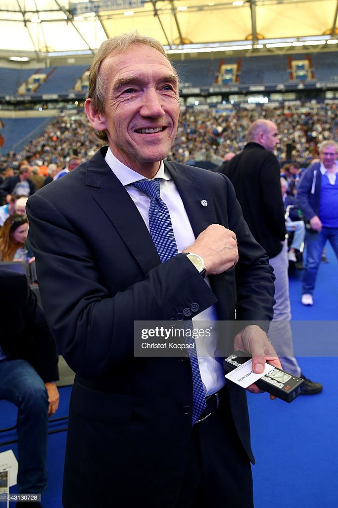 Peter Lange, supervisory board smiles after being voted during the FC Schalke 04 general assembly at Veltins Arena on June 26, 2016 in Gelsenkirchen, Germany.