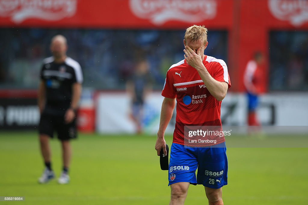 <a gi-track='captionPersonalityLinkClicked' href=/galleries/search?phrase=Peter+Larsson&family=editorial&specificpeople=451448 ng-click='$event.stopPropagation()'>Peter Larsson</a> of Helsingborgs IF during the Allsvenskan match between Helsingborgs IF and IFK Goteborg at Olympia on May 29, 2016 in Helsingborg, Sweden.
