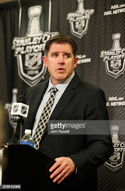 Peter Laviolette of the Nashville Predators answers questions in the post game interview after a 43 triple overtime win against the San Jose Sharks...