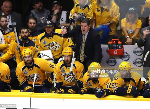Peter Laviolette of the Nashville Predators coaches his team against the Pittsburgh Penguins during the third period in Game Four of the 2017 NHL...