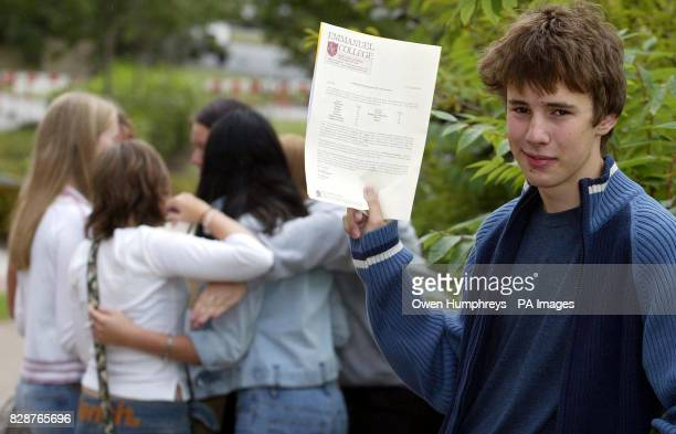 Peter Lawley celebrates his 8A* and 3As at GCSE level outside of Emmanuel Collage in Gateshead Tyne and Wear where 27 pupils achieved a total of 300...