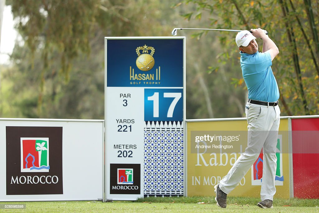 Peter Lawrie of Ireland hits his tee shot on the 17th hole during the second round of the Trophee Hassan II at Royal Golf Dar Es Salam on May 6, 2016 in Rabat, Morocco.
