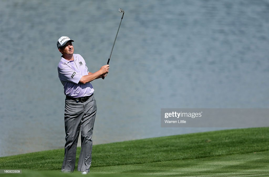 Peter Lawrie of Ireland in action during a practice round ahead of the Omega Dubai Desert Classic on January 29, 2013 in Dubai, United Arab Emirates.