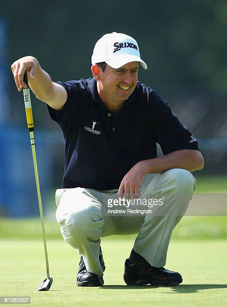Peter Lawrie of Ireland lines up a putt on the 15th hole during the Pro Am prior to the start of the Irish Open on May 14 2008 at the Adare Manor...