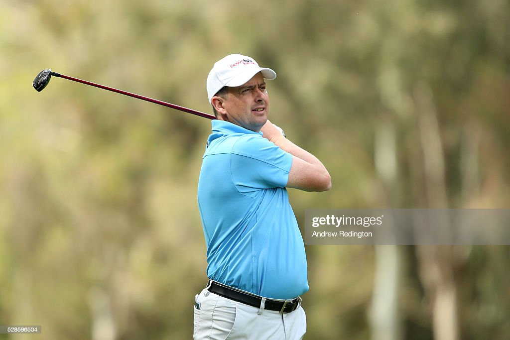 Peter Lawrie of Ireland plays his second shot on the 18th hole during the second round of the Trophee Hassan II at Royal Golf Dar Es Salam on May 6, 2016 in Rabat, Morocco.