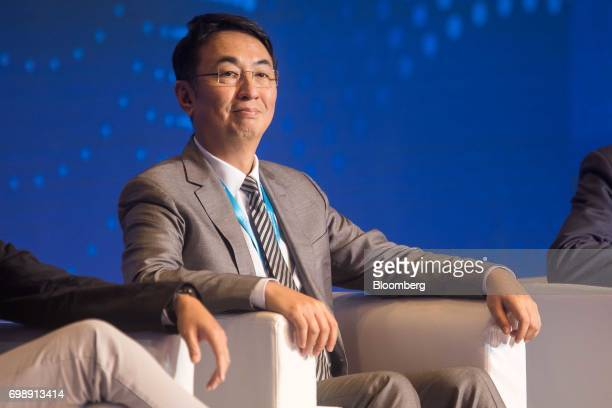 Peter Lee chairman of Henderson China Holdings Ltd attends the GuangdongHong KongMacao Greater Bay Area Forum in Hong Kong China on Tuesday June 20...