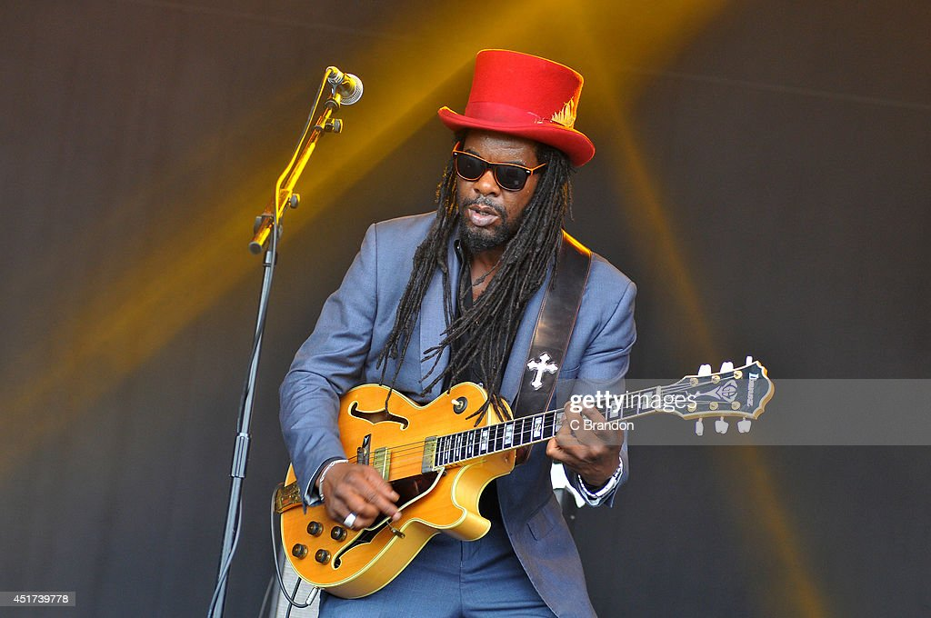 Peter Lee of The Dualers performs on stage at Cornbury Music Festival at Great Tew Estate on July 5, 2014 in Oxford, United Kingdom.