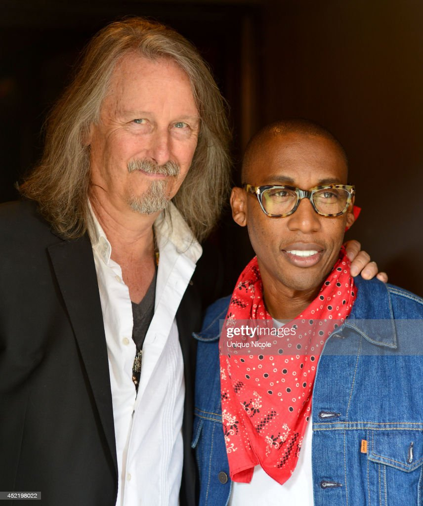 EVP Peter Leinheiser and Musician Raphael Saadiq attend special art guitar tribute to Grammy Lifetime Achievement Award recipient and Rock and Roll Hall of Famer Otis Redding at The Whiskey A Go Go on July 15, 2014 in West Hollywood, California.
