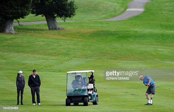 Peter Light hits a shot on the fairway during the second day of the Disabled British Open golf tournament at East Sussex National golf course near...