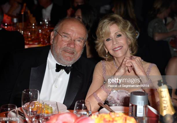 Peter Lindbergh and Jane Fonda attend amfAR's 21st Cinema Against AIDS Gala Presented By WORLDVIEW BOLD FILMS And BVLGARI at Hotel du CapEdenRoc on...